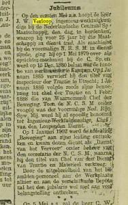 Jubileum JW Verloop 1904 - Utrechts Nieuwsblad